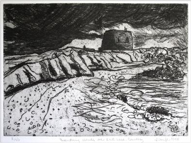 Threatening clouds, etching and aquatint